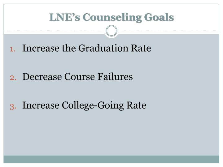 LNE's Counseling Goals