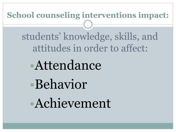 School counseling interventions impact: