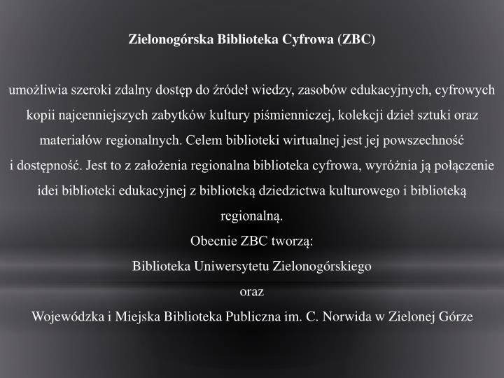 Zielonogórska Biblioteka Cyfrowa (ZBC)