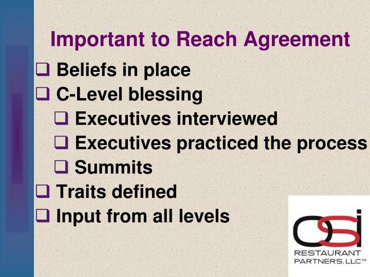 Important to Reach Agreement