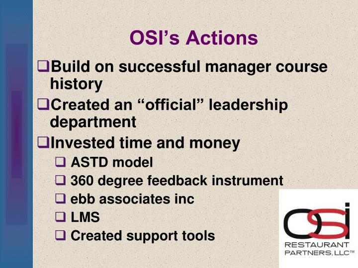 OSI's Actions