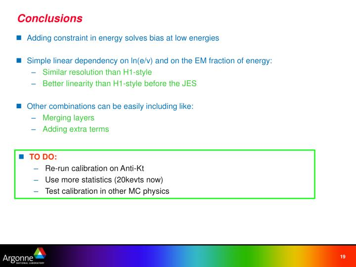 Adding constraint in energy solves bias at low energies