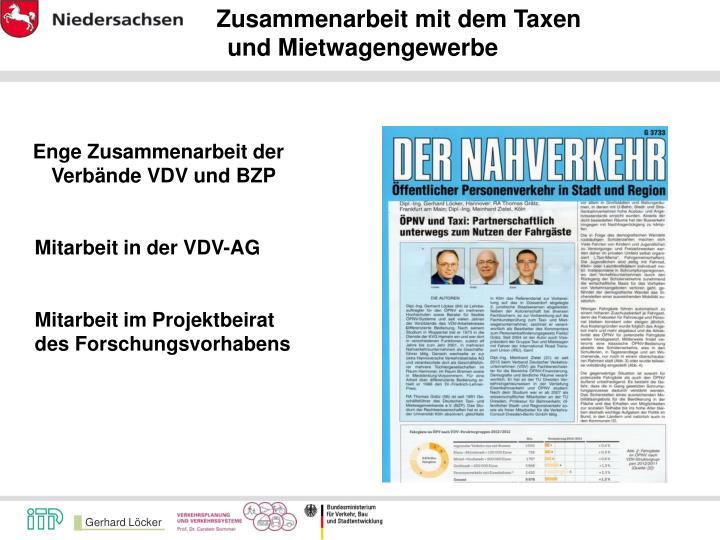 Zusammenarbeit mit dem Taxen
