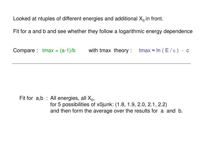 Looked at ntuples of different energies and additional X