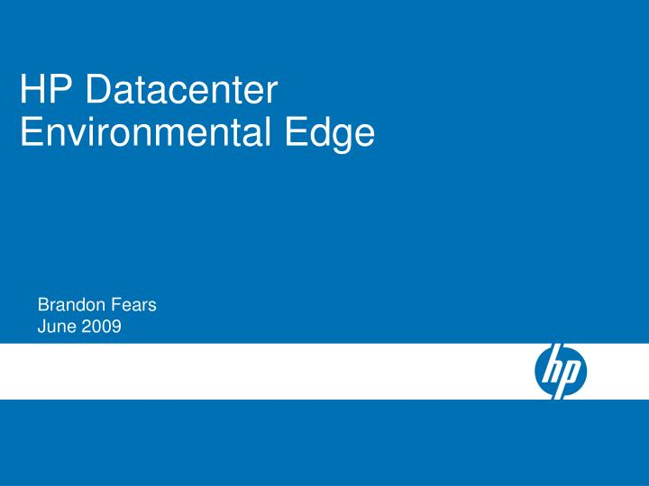 HP Datacenter Environmental Edge