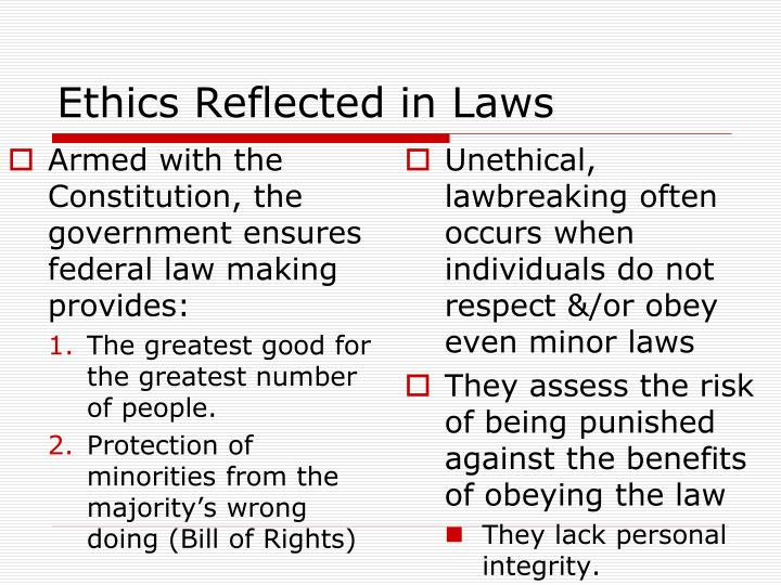 Ethics Reflected in Laws
