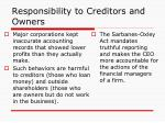 responsibility to creditors and owners