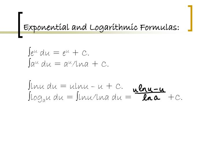 Exponential and Logarithmic Formulas: