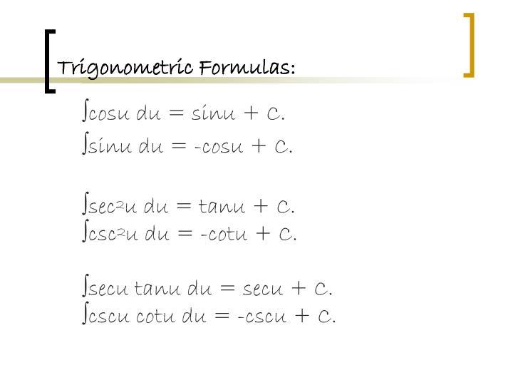 Trigonometric Formulas: