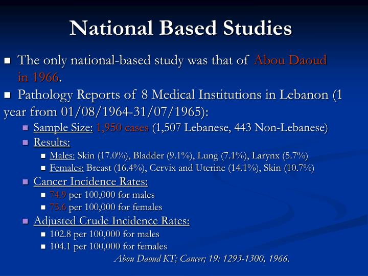 National Based Studies