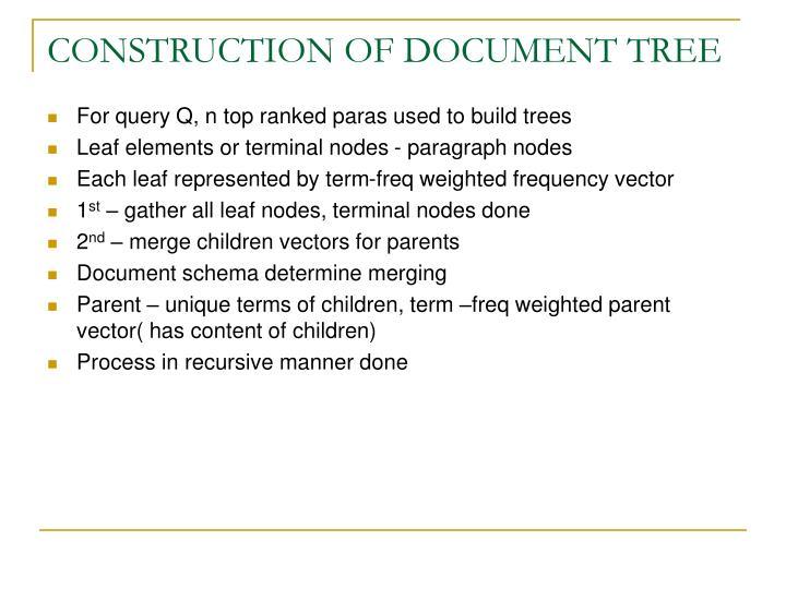 CONSTRUCTION OF DOCUMENT TREE