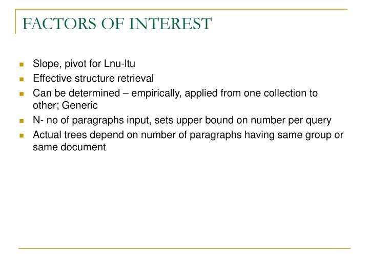 FACTORS OF INTEREST
