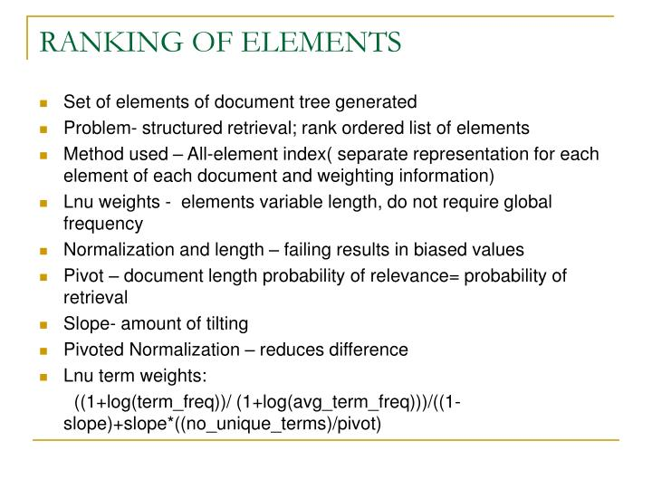 RANKING OF ELEMENTS