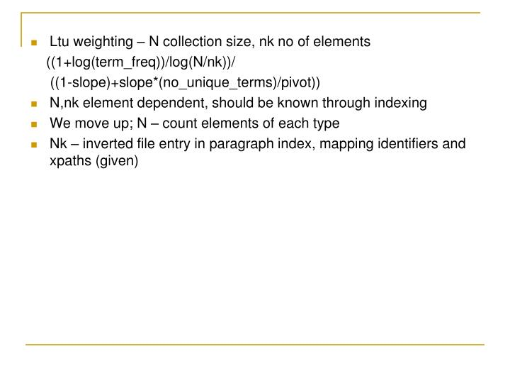 Ltu weighting – N collection size, nk no of elements