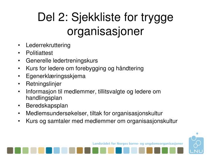 Del 2: Sjekkliste for trygge organisasjoner