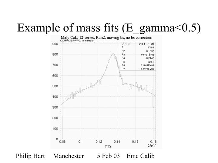 Example of mass fits (E_gamma<0.5)