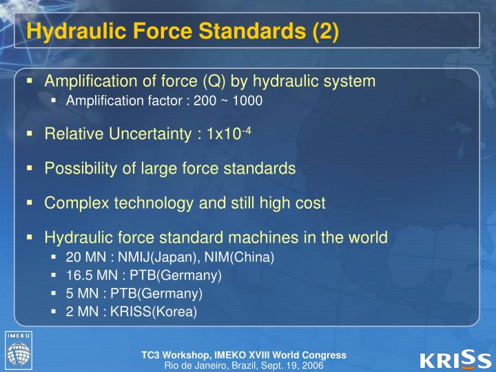 Hydraulic Force Standards (2)