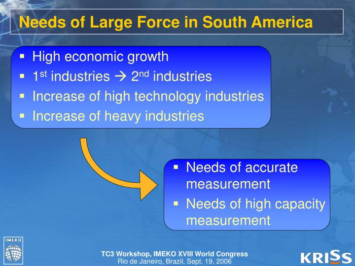 Needs of Large Force in South America