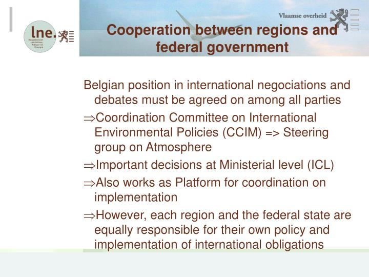 Cooperation between regions and federal government