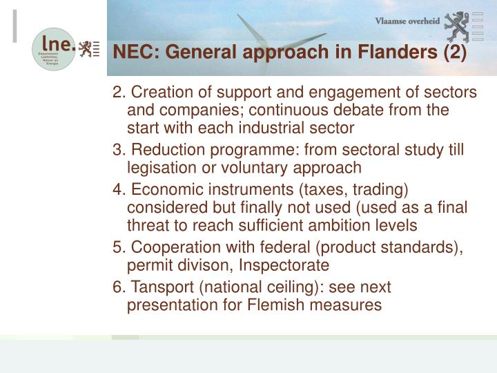 NEC: General approach in Flanders (2)