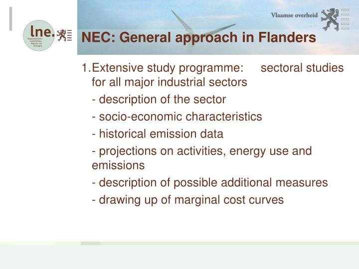 NEC: General approach in Flanders