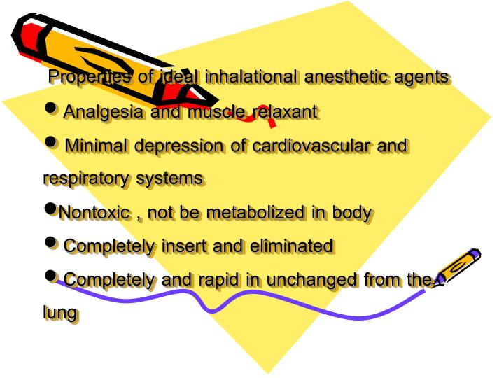 Properties of ideal inhalational anesthetic agents