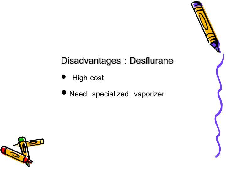 Disadvantages : Desflurane