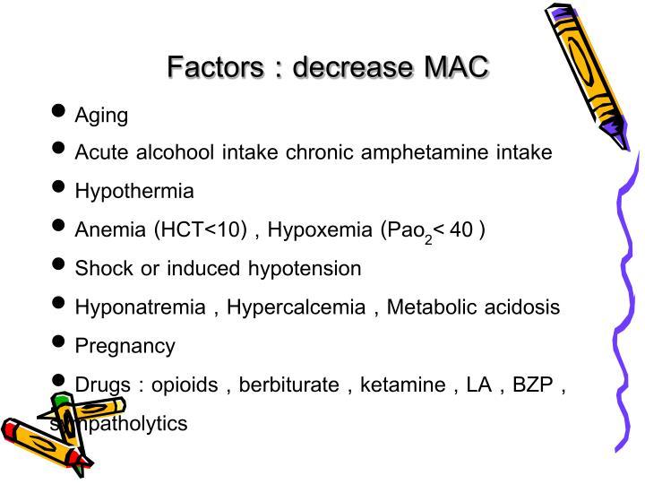 Factors : decrease MAC