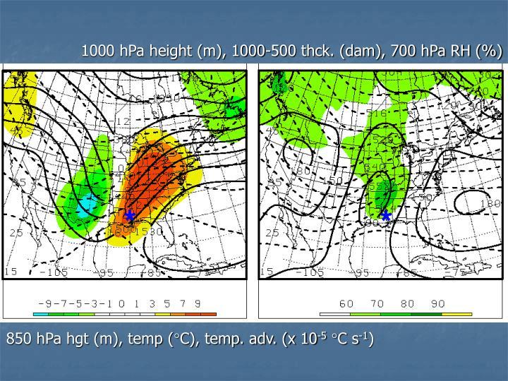 1000 hPa height (m), 1000-500 thck. (dam), 700 hPa RH (%)