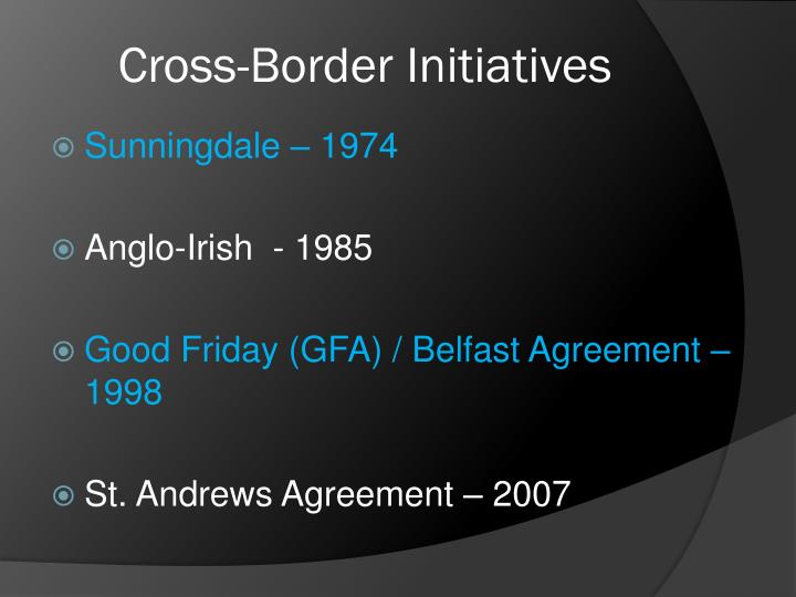 Cross-Border Initiatives