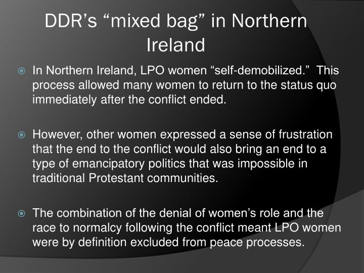 "DDR's ""mixed bag"" in Northern Ireland"