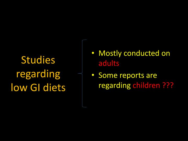 Studies regarding low GI diets