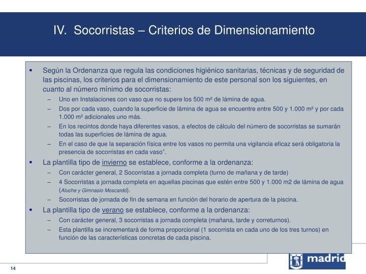IV.  Socorristas – Criterios de Dimensionamiento