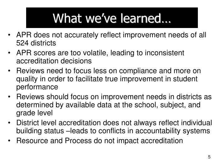 What we've learned…