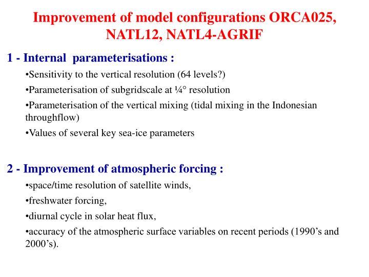 Improvement of model configurations ORCA025, NATL12, NATL4-AGRIF