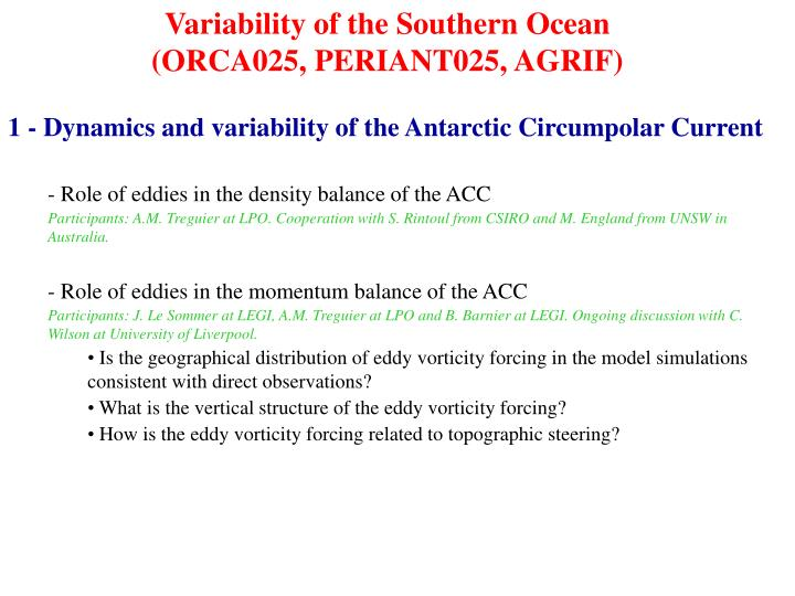 Variability of the Southern Ocean