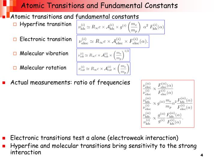 Atomic Transitions and Fundamental Constants