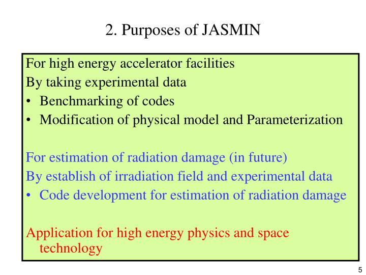 2. Purposes of JASMIN