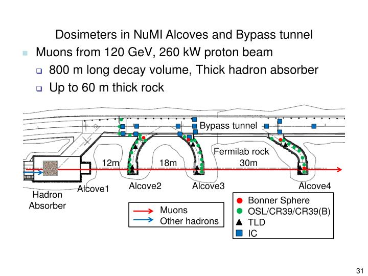 Dosimeters in NuMI Alcoves and Bypass tunnel