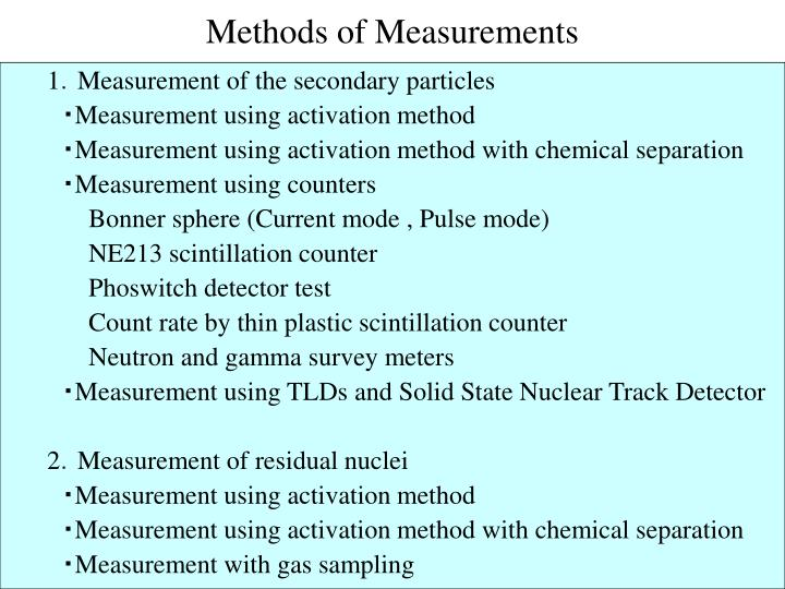 Methods of Measurements