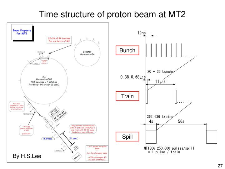 Time structure of proton beam at MT2