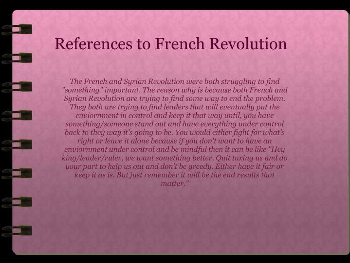 References to French Revolution