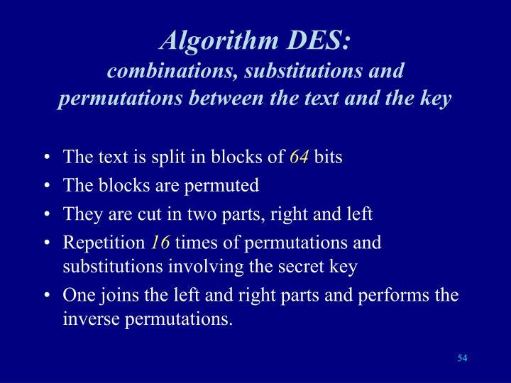 Algorithm DES: