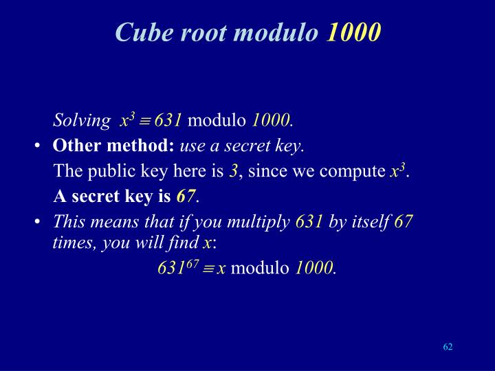 Cube root modulo