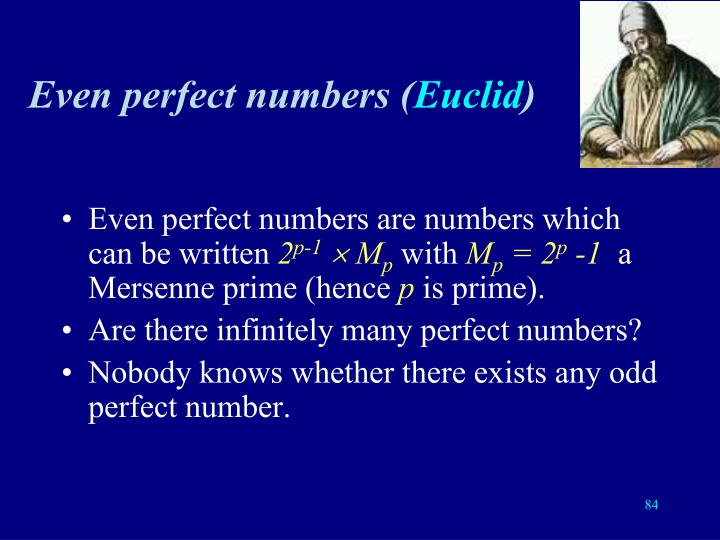 Even perfect numbers (