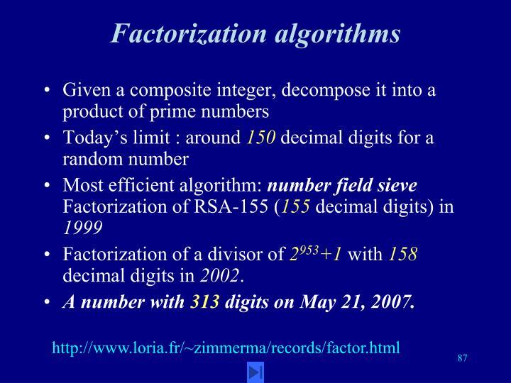 Factorization algorithms