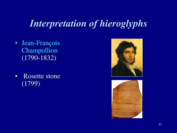 Interpretation of hieroglyphs