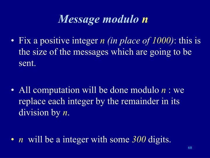 Message modulo