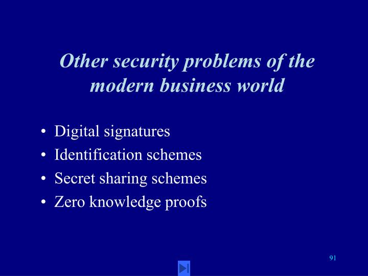 Other security problems of the modern business world