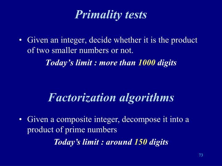 Primality tests